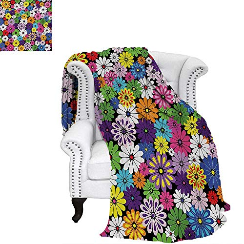 (warmfamily Flower Summer Quilt Comforter Floral Vivid Pattern with Colorful Flowers Daisies Wildflowers Cheerful Natural Digital Printing Blanket 70