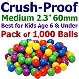 My Balls 1000 Ball Pit Balls - 5 Bright Colors; 2.3'' 60mm Medium Size, Crush-Proof Air-Filled; Phthalate Free; BPA Free; non-Toxic; non-PVC; non-Recycled Plastic Same Size as Click N' Play