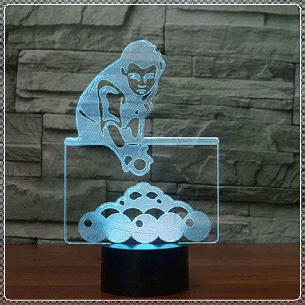 LED Luz noche La noche del LED se enciende/lámpara de mesa de billar 3D Figura 7 Color visual Ilusión acrílico Touch Control regulable USB enciende la lámpara del sueño: Amazon.es: Iluminación