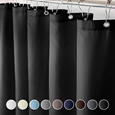 Eforcurtain Standard Size Solid Fabric Shower Curtain Waterproof Shower Curtain Set with Plastic Hooks,72 by 72-inches, Black