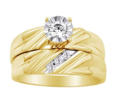 Juego de anillos de boda con forma redonda de diamante blanco natural en oro amarillo macizo de 10 quilates (0,30 quilates) - YG-L 1/2: Amazon.es: Joyería