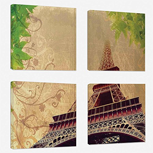 4pcs/set Modern Painting Canvas Prints Wall Art For Home Decoration Eiffel Tower Print On Canvas Giclee Artwork For Wall DecorEiffel Tower and Tree Leaves on Grunge Background with Swirls and Scrolls-