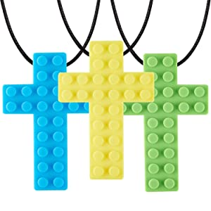 Nearbyme Brick Tooth Chew Necklace for Kids, Boys or Girls, 3 Pack Sensory Oral Motor Aids Teether Toys for Autistic Chewers, ADHD, Baby Nursing or Special Needs