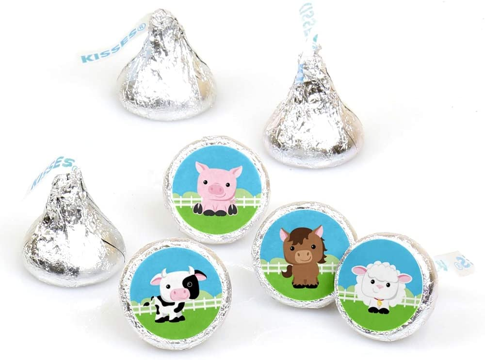 Farm Animals - Baby Shower or Birthday Party Round Candy Sticker Favors - Labels Fit Hershey's Kisses (1 Sheet of 108)