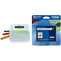Brother P-Touch, PTD210, Easy-to-Use Label Maker, White & Genuine P-Touch TZE-221 Tape, 3/8%22 Standard Laminated P-Touch Tape, Black on White, Single-Pack
