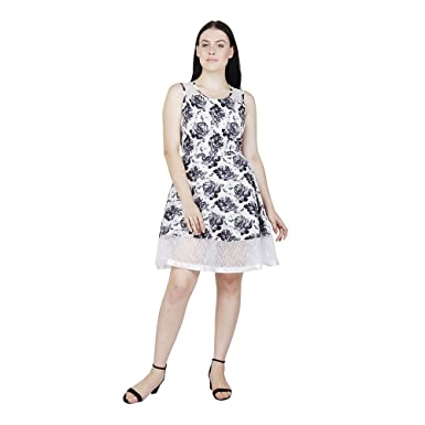 177bf65c9a3c My Swag White Floral Print Crepe A-line Midi Dress  Amazon.in ...
