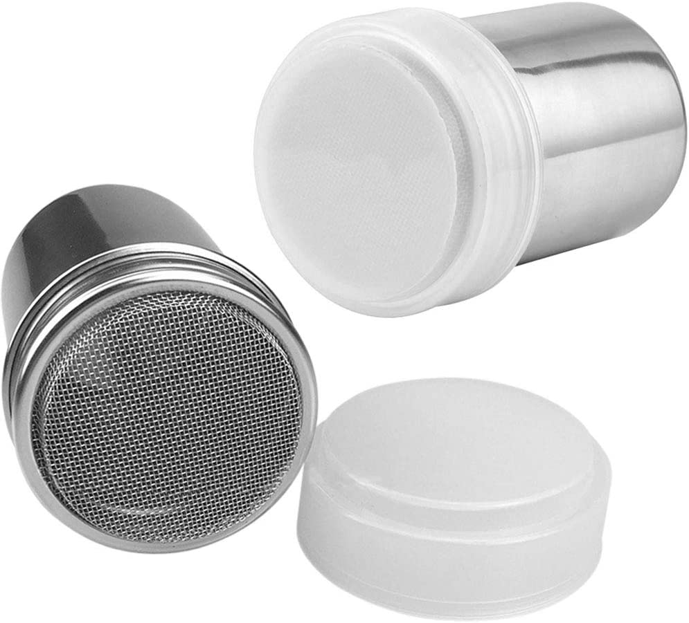 Onwon 2 Pieces Powder Sugar Shaker with Lid - Stainless Steel Fine Mesh Shaker Cinnamon Icing Sugar Powder Cocoa Flour Chocolate Coffee Sifter Sprinkler Dredgers for Coffee Cappuccino Latte