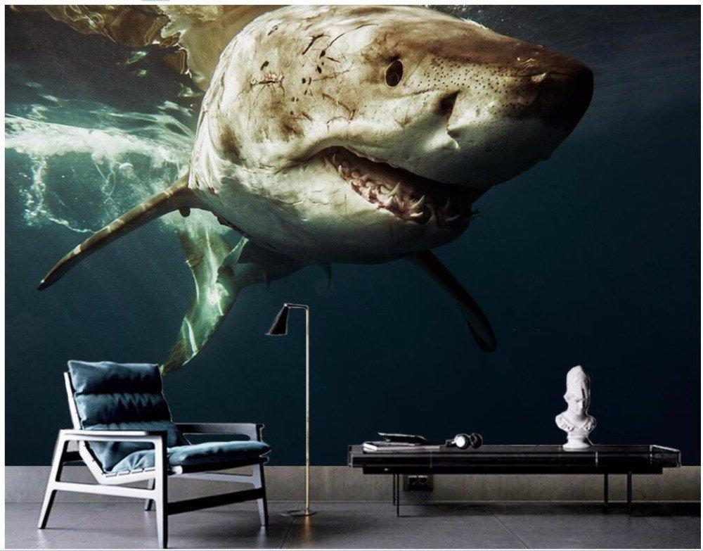 Wxlsl Benutzerdefinierte Wandbild 3D Tapete Marine Hintergrund Wand Des Großen Hai 3D Wandbilder Tapete Für Wohnzimmer-200Cmx140Cm