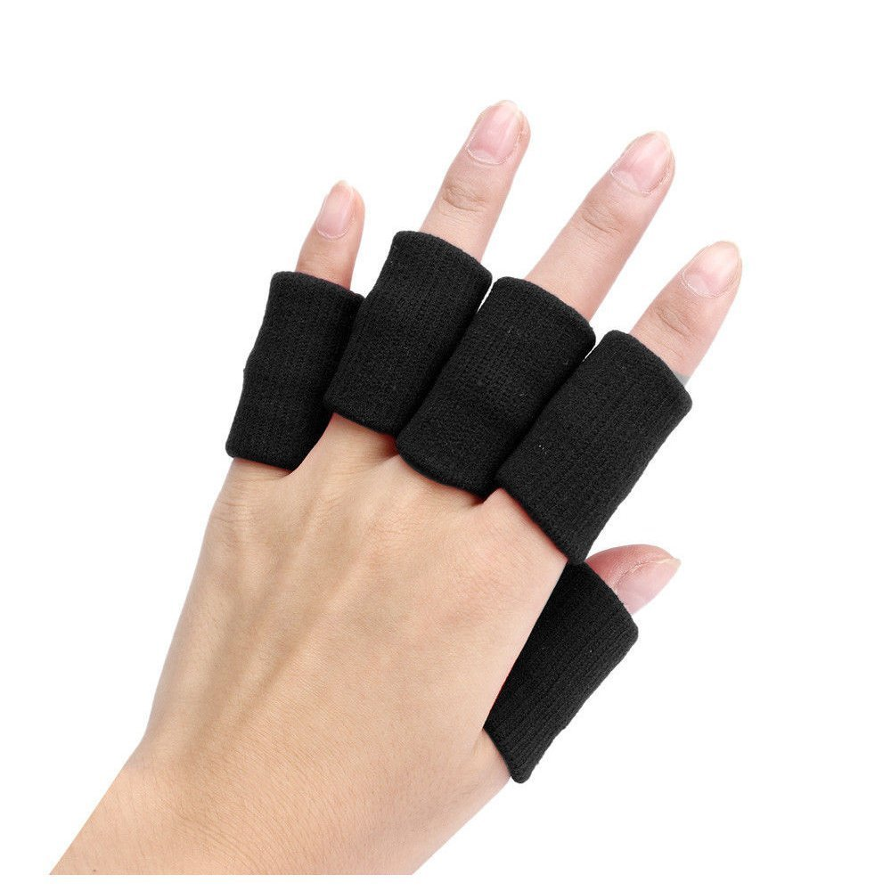 Finger Guard Sleeves - TOOGOO(R)Portable 10pcs Stretch Sports Basketball Finger Guard Support Sleeves Protector black