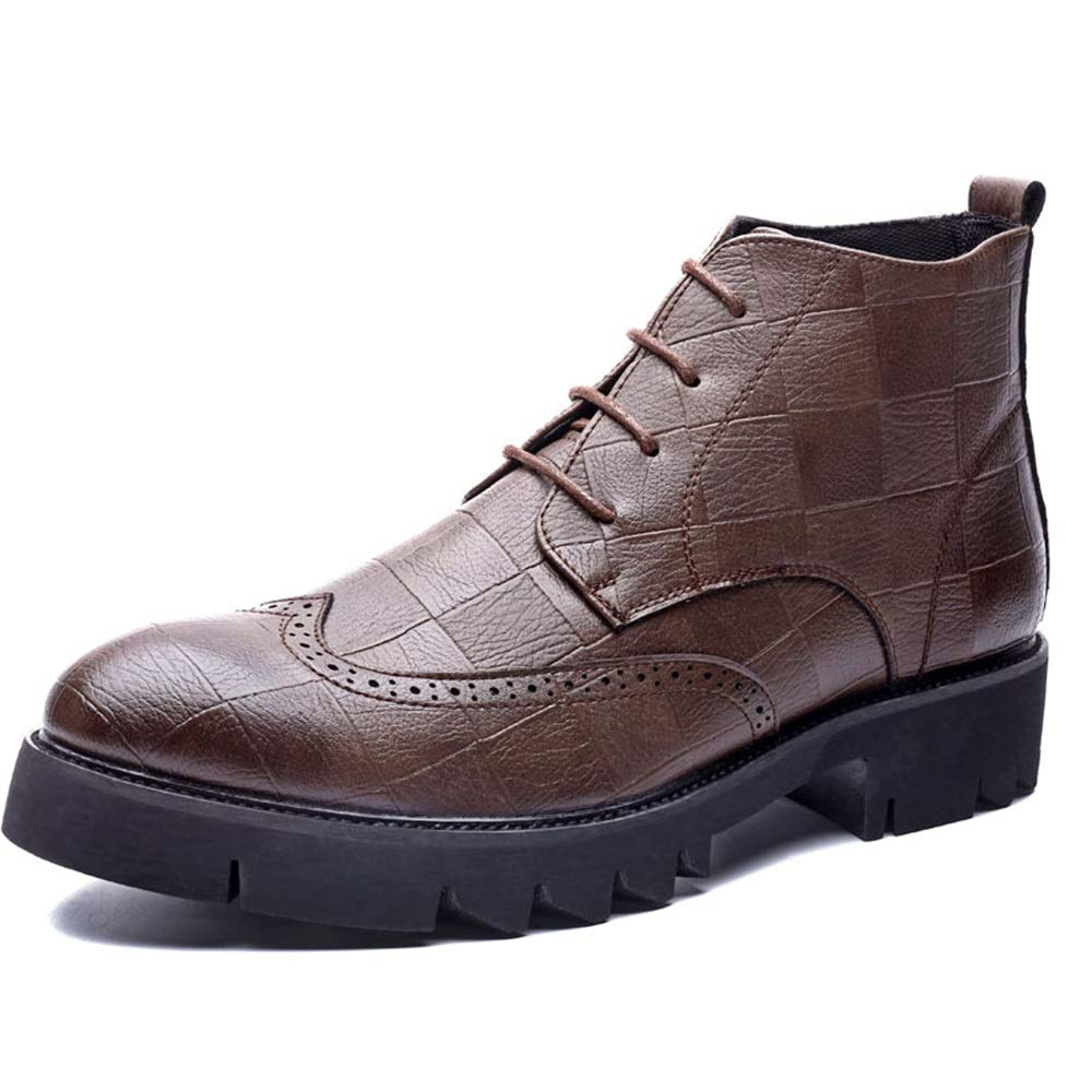 2018 Herren Stiefel Sommer schuhe, Männer mit Außensohle und Brogue schnüren Sich Oben hohe Stiefelette Mode Stiefel lässig (Farbe   Braun, Größe   42 EU)