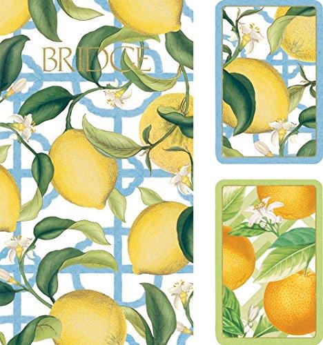 (Caspari Entertaining Bridge Playing Card Gift Set, Jumbo Type, Citrus)