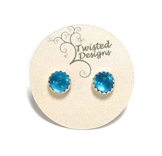 290cd1077 Amazon.com: Blue Apatite Stud Earrings in Sterling Silver 5mm: Handmade