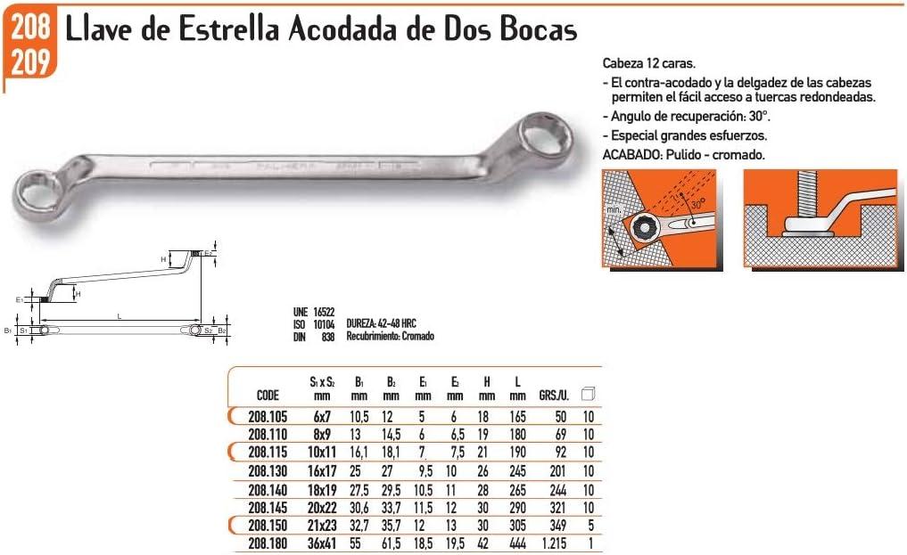Marca Palmera 208.130-16//17 ECOSPAIN Llave de Estrella acodada de Dos Bocas