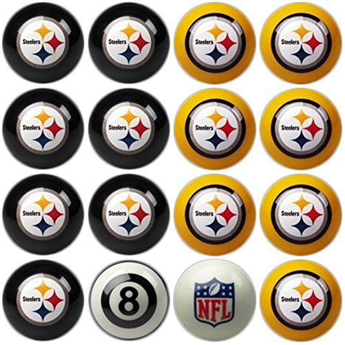 (Officially Licensed Pittsburgh Steelers Football Billiard Pool Cue Ball Set)
