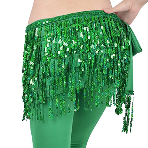 MUNAFIE Women's Belly Dance Hip Scarf Performance Outfits Skirt Festival Clothing Green (Scarf Hip Belly Dance Green)