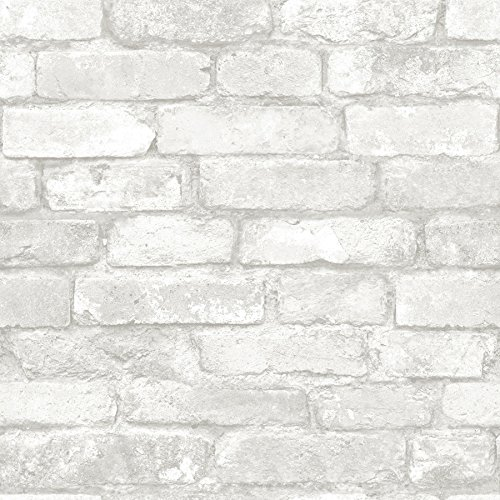 Grey and White Brick Peel And Stick Wallpaper - Faux Brick Wallpaper: Amazon.com