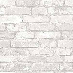 Amazon.com: Grey and White Brick Peel And Stick Wallpaper: Home