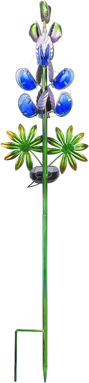Solar Garden Decor Stake Outdoor Light Glass Flower Stake for Yard Lawn Decor Backyard Decorations (Blue Lupin)