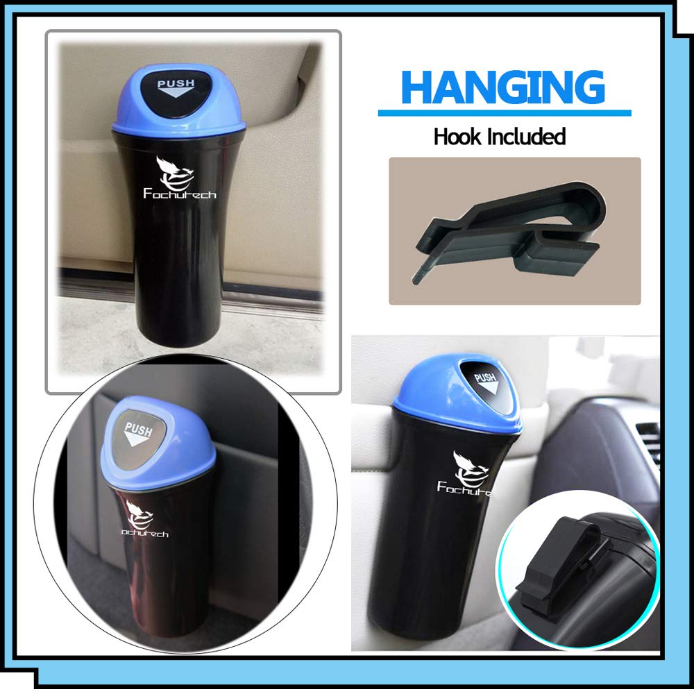 blue Mini Car Trash Can with Lid 2 Packs Car Trash Bin Portable Car Rubbish Bin Automatic Car Garbage Can Car Organizer Fits Car cup holders Console Door Pocket Home Office Use
