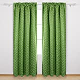 Cheap Deconovo Ocean Wave Print Blackout Window Curtain Rod Pocket For Living Room 42W x 95L Inch Green 2 Panel