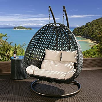 Outdoor 2 Person Garden Hanging Chair Black Rattan Cream Cushion 2014