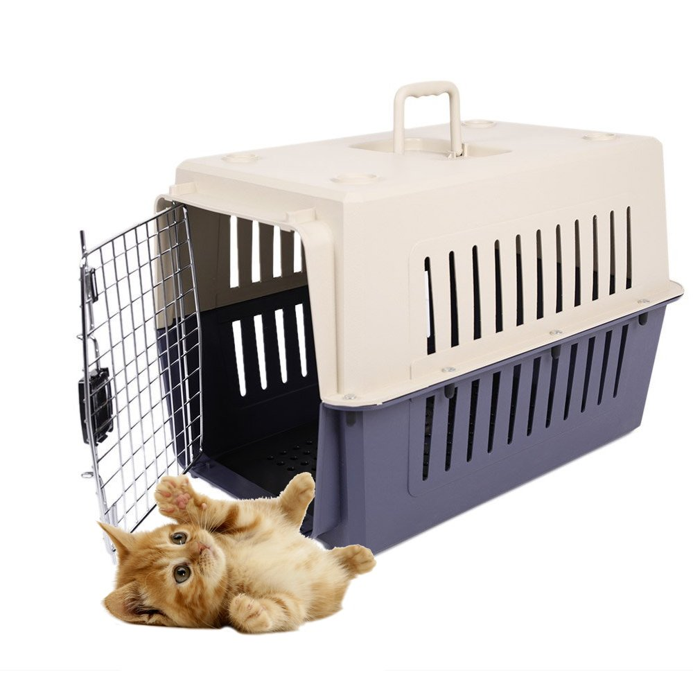 Livebest Portable Plastic Hard-Sided Pet Carrier Crate Outdoor Kennel Car Travel Box for Small Cat Dog Cub by Livebest