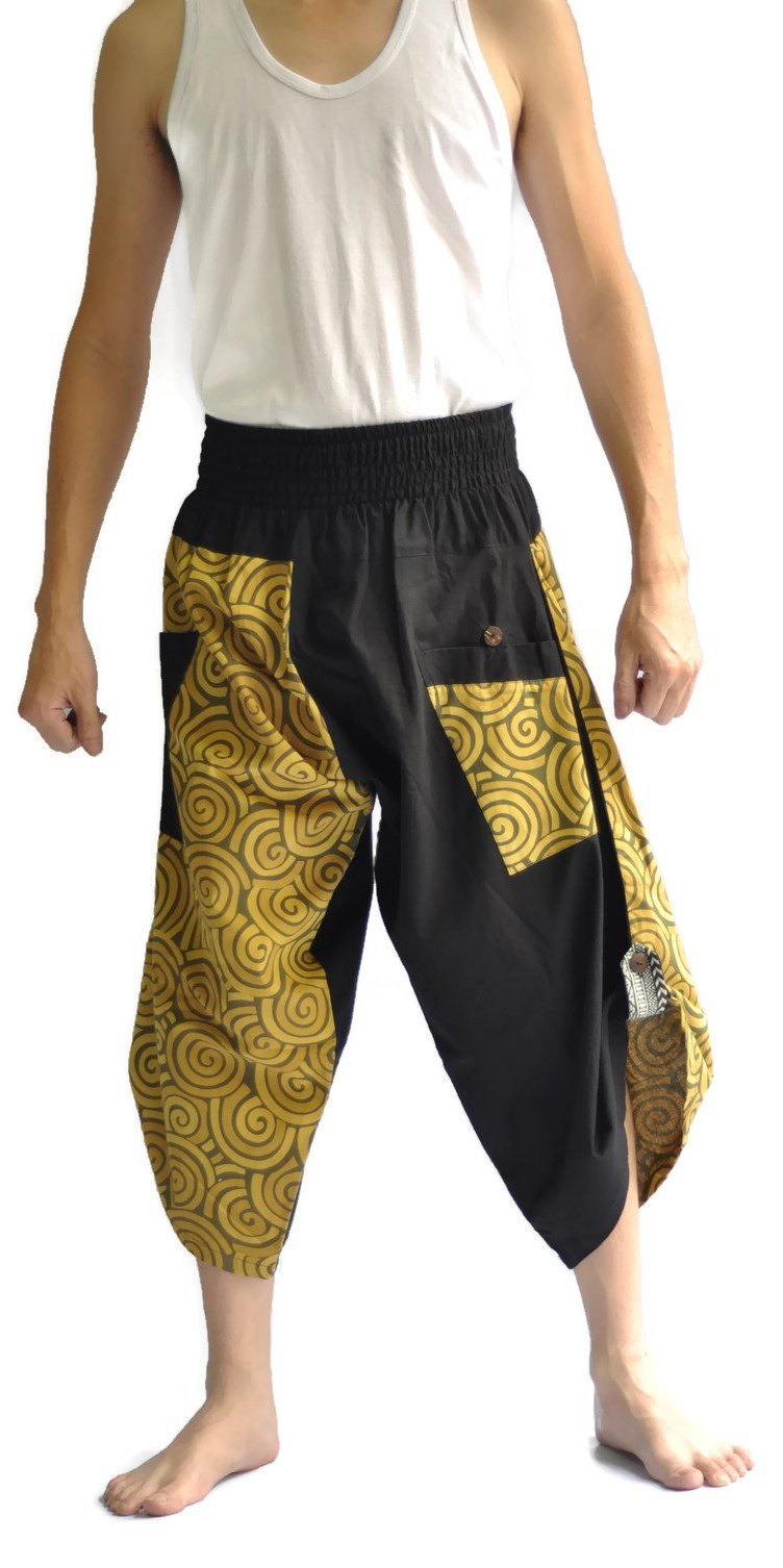 Siam Trendy Mens Harem Pants Design Japanese Style Pants One Size Black and Circle Design (Yellow)