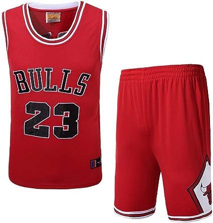 JX-PEP Hombres Camisetas de Baloncesto se, 23# toros Baloncesto Uniforme Verano Camisa Bordado Chaleco Pantalones Cortos, Rojo, Blanco, Negro,Rojo,XL