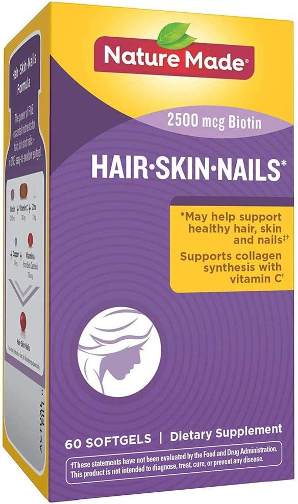 Nature Made Hair, Skin & Nails w. 2500 mcg of Biotin Softgels 60 Ct