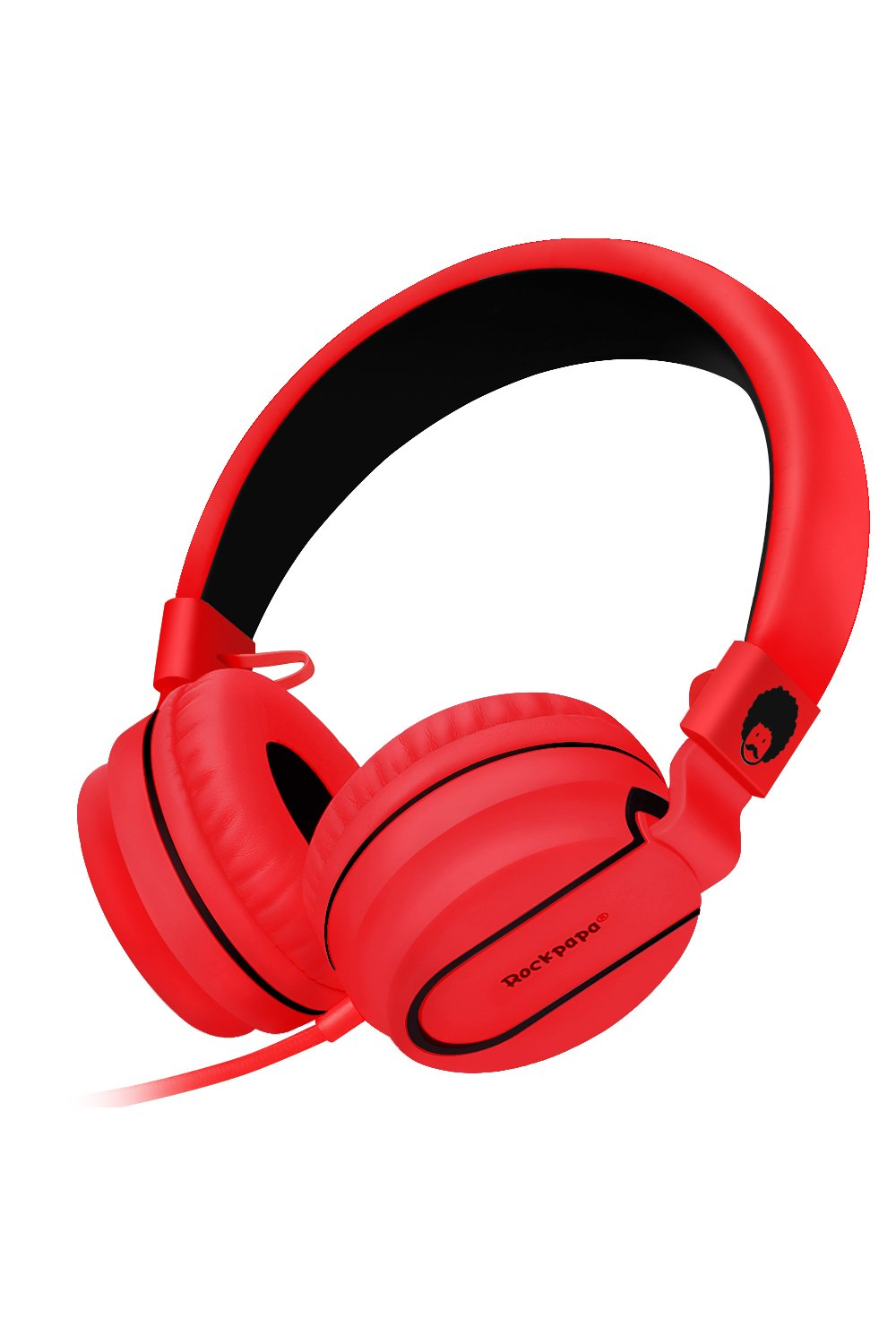 RockPapa Stereo Adjustable Foldable Headphones Lightweight Headband Headsets with Microphone 3.5mm for Cellphones Smartphones iPhone Tablets Laptop Computer Mp3/4 DVD (Black/Red)