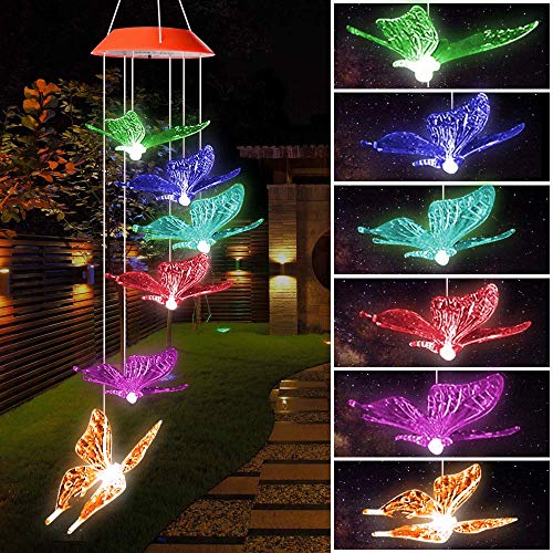 SIX FOXES LED Butterfly Wind Chimes, Color Changing Solar Wind Chimes Outdoor, Waterproof Wind Mobile Solar Lights, Décor for Garden, Yard, Patio, Home, Gifts for Mom, Wife, Grandma from SIX FOXES