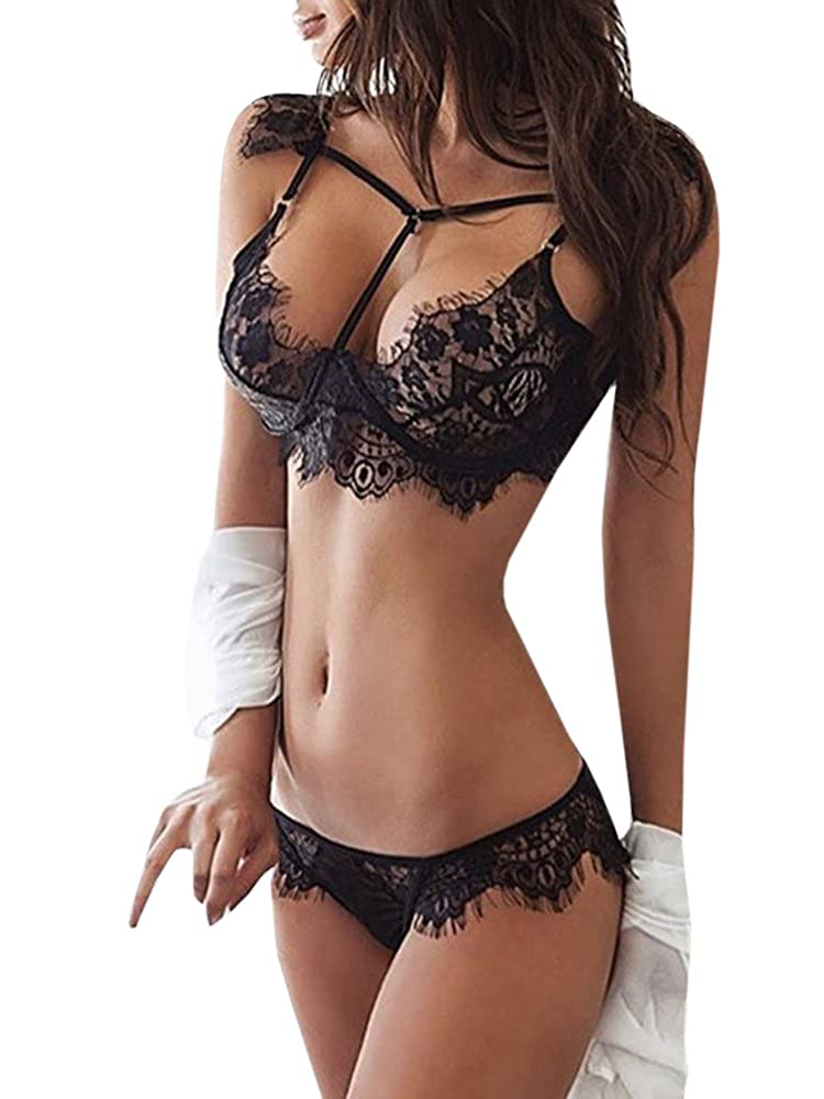 34a17824401 Material  Lace and Spandex Package  1pc bra + 1pc panty. This sexy lace  lingerie nightwear is made from a very delicate fabric
