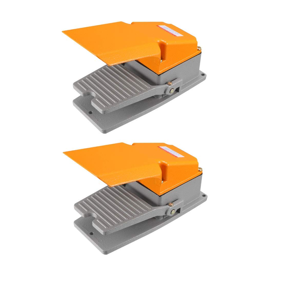 Industrial Non-Slip SPDT momentary Industrial footswitch NO NC 380V 15A with Protector 2PCS Aluminum case