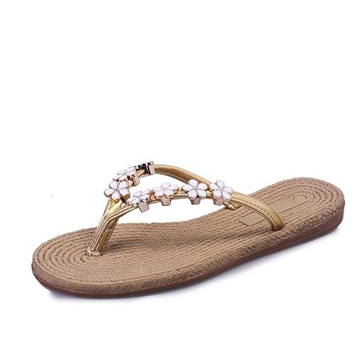 Ouneed® Sommer neu Frauen arbeiten Sommer flachen Flip Flops Sandalen Slipper Böhmen Schuhe Flip Flops Erwachsene Zehentrenner (37===23-23.5cm/9.0