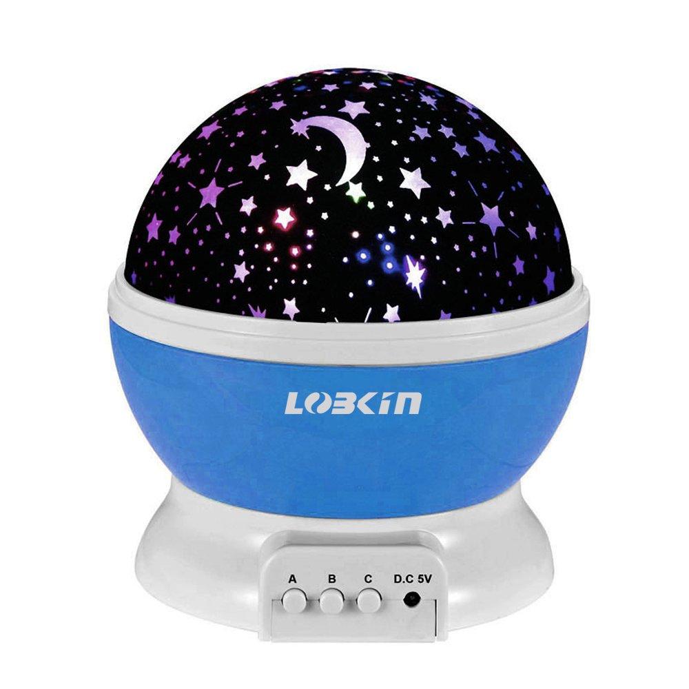 LOBKIN Constellation Night Light Projector Lamp 360 Degree Rotating 3 Mode Romantic Cosmos Star Sky Moon Bedroom Light for Children,Baby Bedroom,Christmas Gifts,Blue
