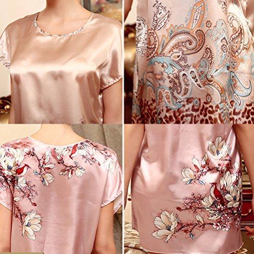 Zhhlinyuan Women's Long T-shirt Lingerie Enchanting Satin Chemise Nightgowns Sleepshirts 3