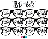 Team Bride Party Glasses - Novelty Sunglasses for Weddings, Bachelorette Parties and Bridal Showers (7pc Set, Black (Font #2))
