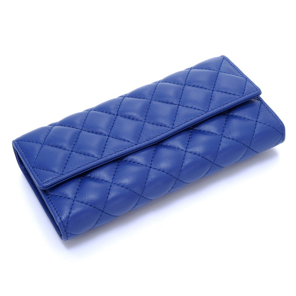 Diamond Plaid blue lambskin Lady long purse/ 30 percent Velcro wallet large capacity-A
