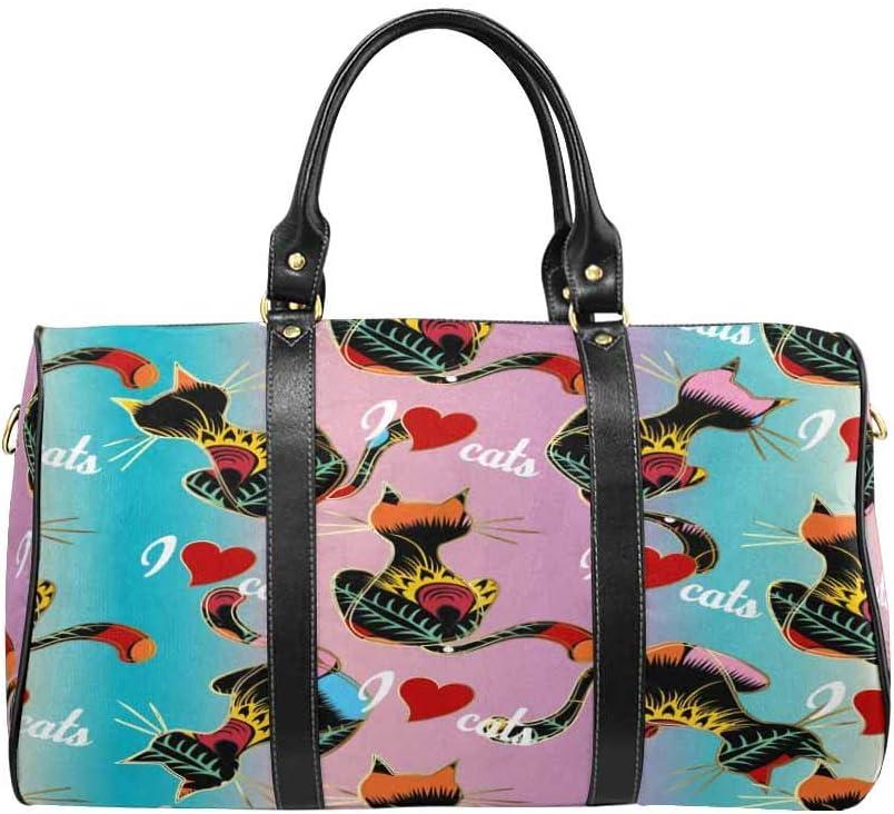 InterestPrint Carry-on Garment Bag Travel Bag Duffel Bag Weekend Bag I Love Cats Cats Pattern