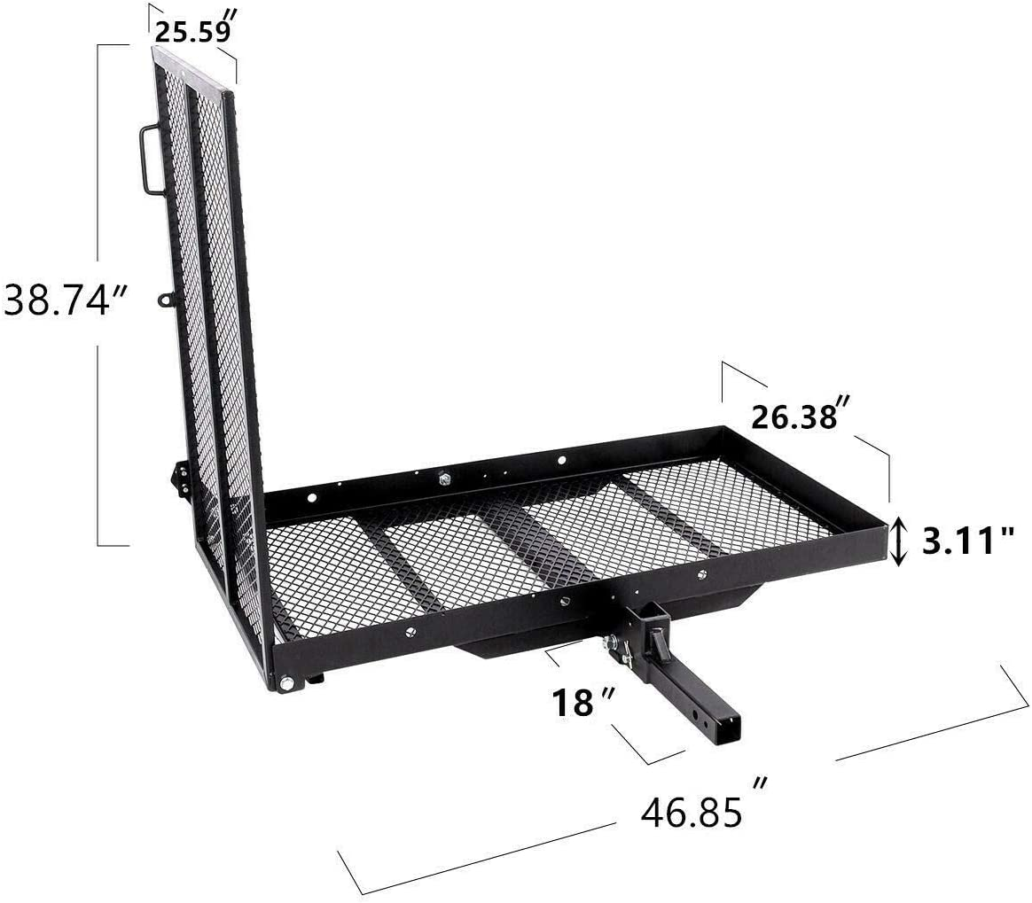 TKMD Wheelchair Carrier Mobility Scooter Loading Ramp Heavy Duty Strong Hitch Cargo Foldable 500 Lbs Capacity