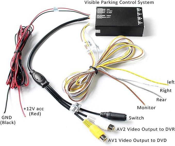 PolarLander 4PCS 360 View Car Camera Control Box 4 Way Cam/éras Commutateur syst/ème Vue arri/ère Arri/ère UP Cam/éras pour Arri/ère Gauche Droite Taille Cam/éra Avant