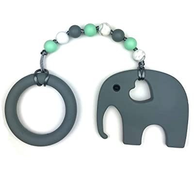 Baby Teething Toys by Nummy Beads Gray Elephant with Ring and Mint Beads Silicone Teether : Baby [5Bkhe0203442]