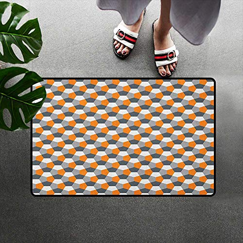 (alilihome Mat Rug Rubber Front Entrance Outside Doormat W24 x L35 INCH Abstract,Modern Style Origami Inspired Mosaic Tile with Hexagonal Shapes, Grey Charcoal Grey Orange)