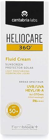 Heliocare 360° Fluid Cream SPF 50+ Crema Solar Facial Fluida, Nutre e Hidrata, Aporta Suavidad a la Piel, sin Residuo Blanco, Pieles Normales o Secas, 50 ml