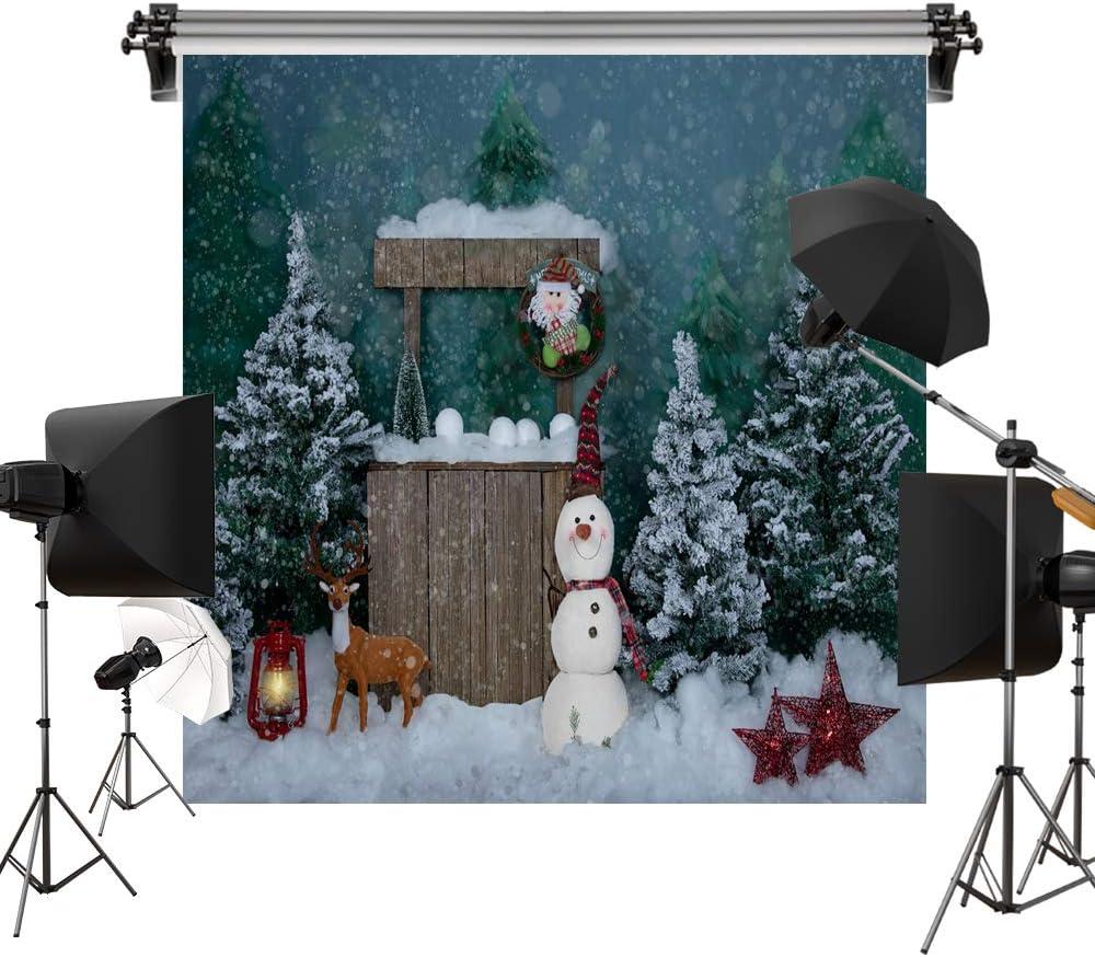 Kate 8x8ft/2.5x2.5m Christmas Backdrops Winter Snowman Xmas Tree Photography Shoot Studio Backgrounds Props