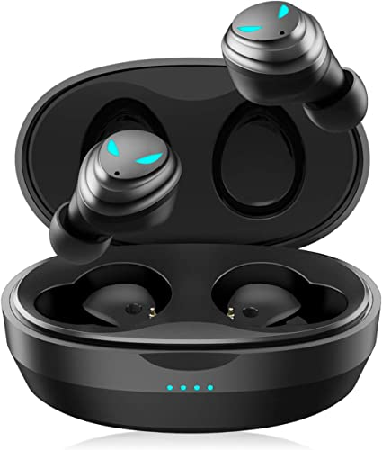 FITVII Bluetooth 5.0 Wireless Earbuds, Wireless Earphones Touch Control with Microphone Charging Case 50H Cyclic Playtime Stereo Sound Headset in-Ear Compatible for Android iPhone Black