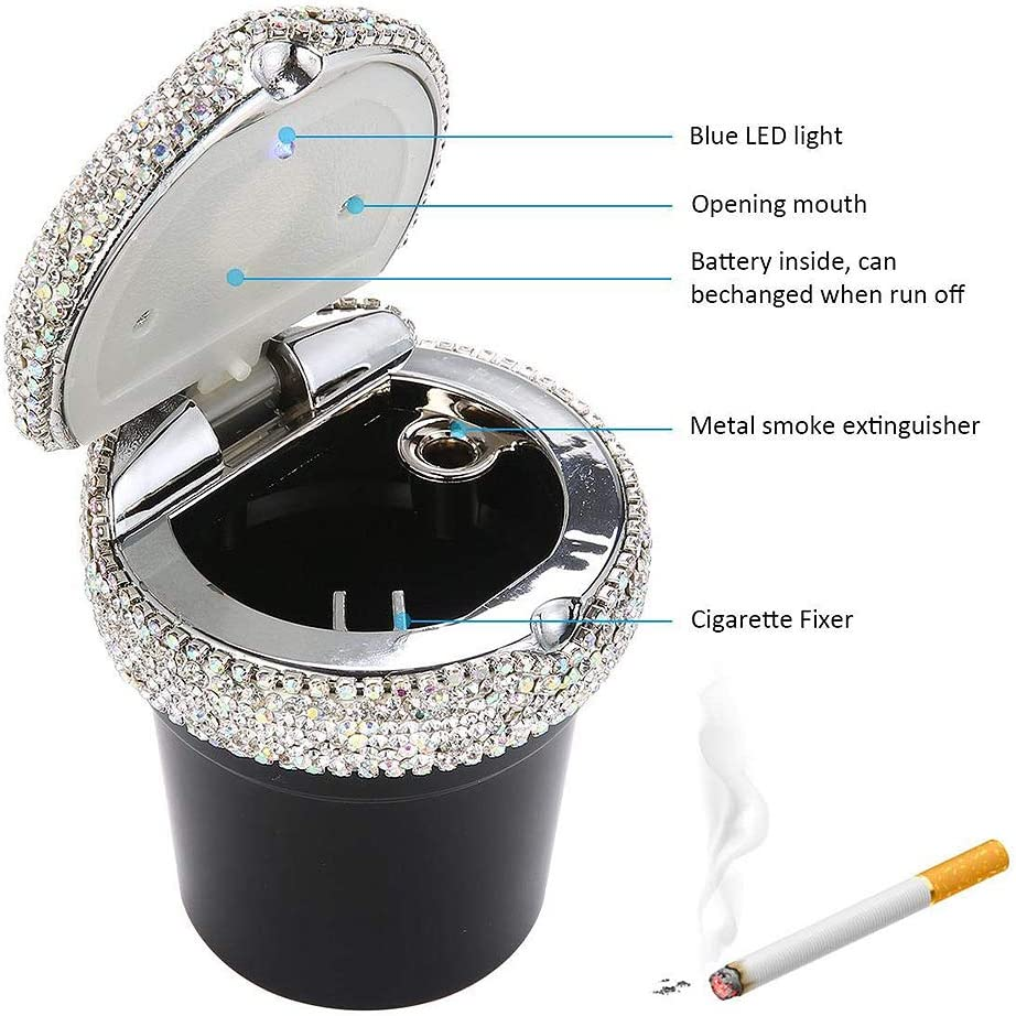 Auto-Aschenbecher Holder Zigarette Aschenbecher Auto Ascher mit LED Bling Crystal Diamond-Zigarette Aschenbecher