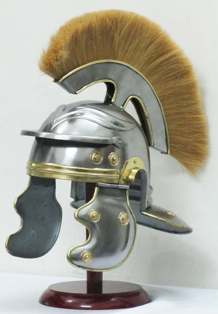 Shiv Shakti Enterprises Roman Centurion Helmet Medieval Armor Officer Centurion Helmet with Gelb Plume and comes with Leder Liner by Shiv Shakti Enterprises