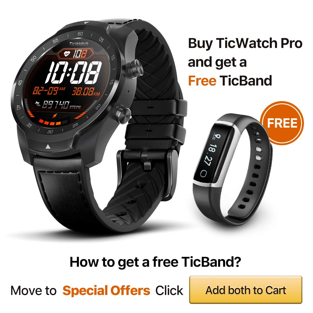 Ticwatch Pro Bluetooth Inteligente Reloj, visualización en ...