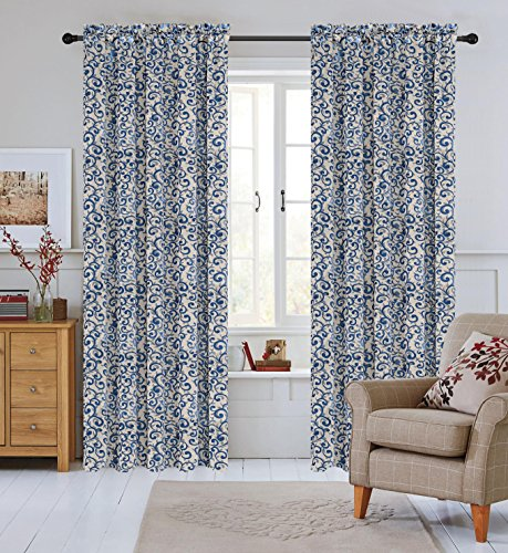 Urbanest 50-inch by 84-inch Set of 2 Jacquard Scroll Drapery Curtain Panel, Blue (Scroll Rod Pocket Curtain)
